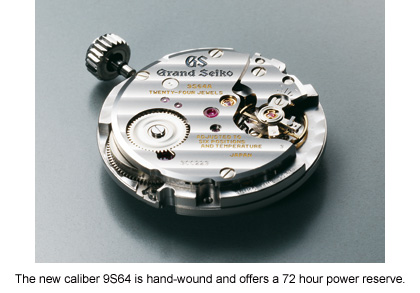 The new caliber 9s64 is hand-wound and offers a 72 hour power reserve.